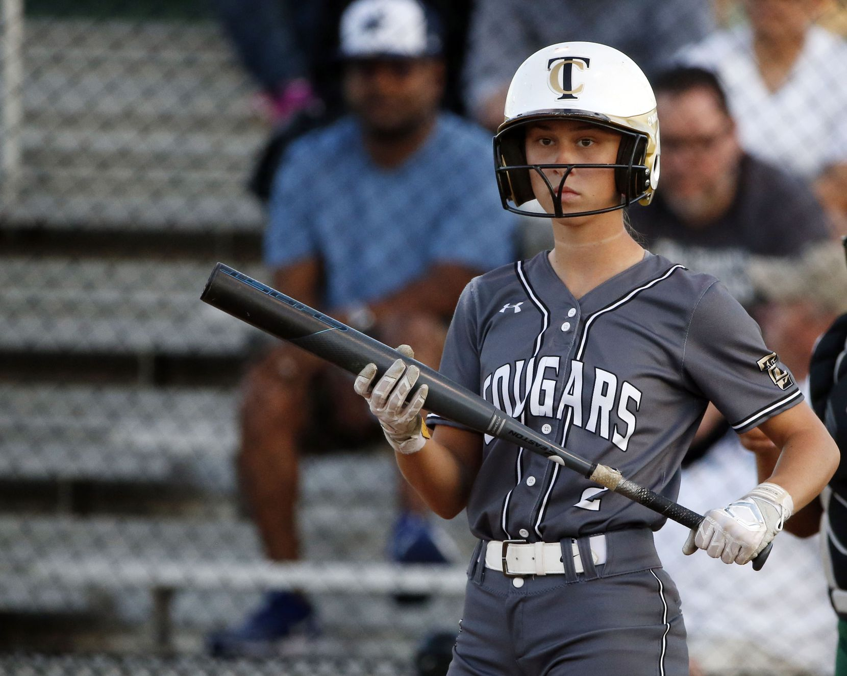 The Colony's Jacee Hamlin (2) bats against Birdville during game 2 of the Class 5A   Bi-District girls softball playoffs on April 26, 2019. (Michael Ainsworth/Special Contributor)