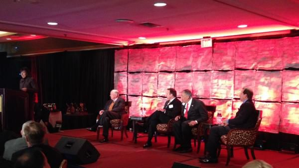 America's Future Series included a panel discussion moderated by Traci Merzi (left) and featuring T. Boone Pickens (from left), Joe DePinto, Joe Robles and David Seaton of Irving-based Fluor.