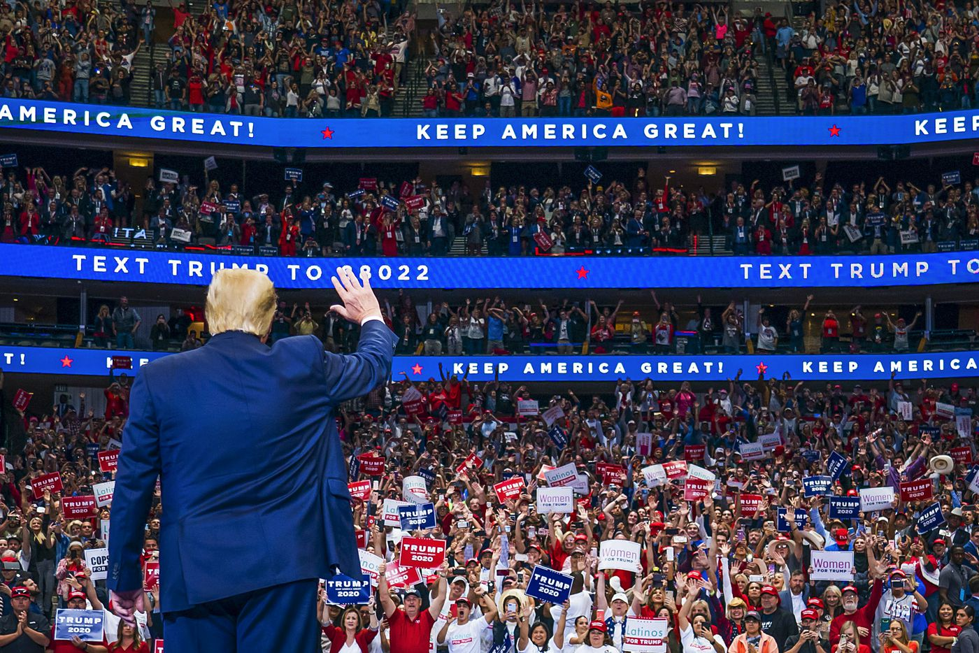 President Donald Trump waves to the crowd as he arrives for a campaign rally at the American Airlines Center on Thursday, Oct. 17, 2019, in Dallas.