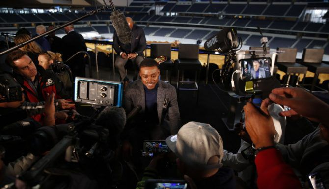 Boxer Errol Spence Jr. gives interviews during a press conference for the Premier Boxing Champions fight between Unbeaten IBF Welterweight World Champion Errol Spence Jr. and undefeated four-division world champion Mikey Garcia at AT&T Stadium on Tuesday, Feb. 19, 2019. The match will take place at AT&T Stadium on March 16, 2019.  (Rose Baca/Staff Photographer)