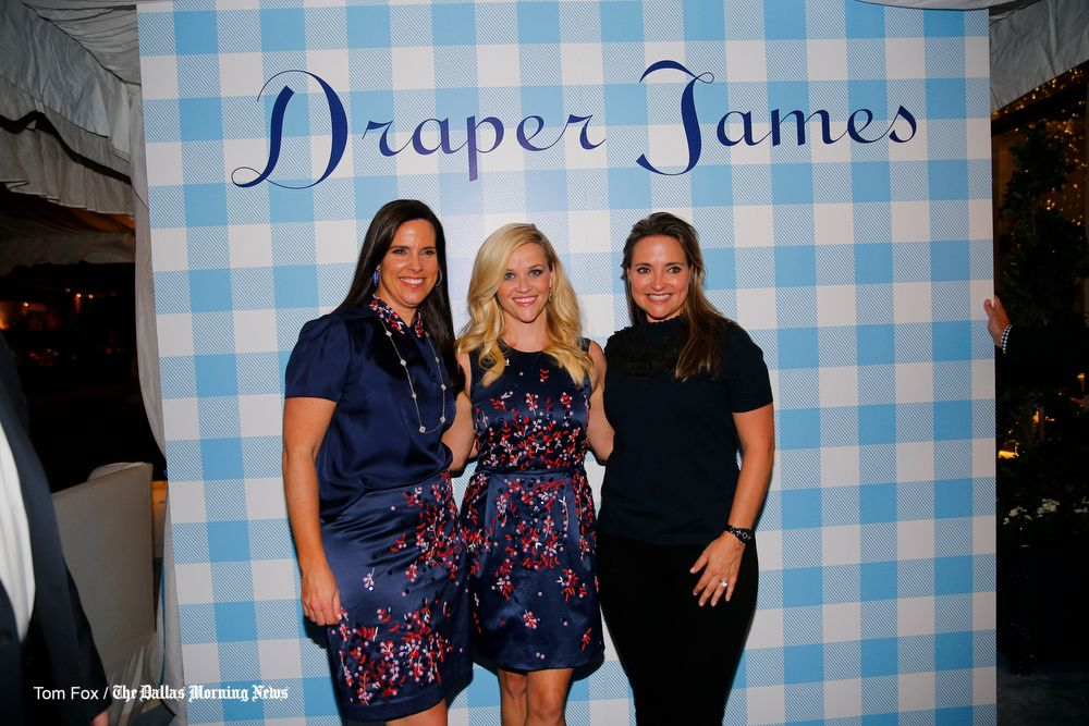 Oscar-winning actress Reese Witherspoon with Highland Park Village co-owners Heather Washburne (left) and Elisa Summers (right) Wednesday night's opening party for her Dallas Draper James store.