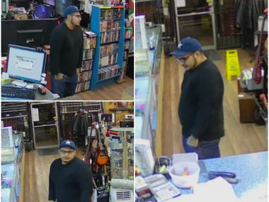 Surveillance video images of a suspect believed to have taken a $2,000 gold bracelet from a Pleasant Grove pawn shop.