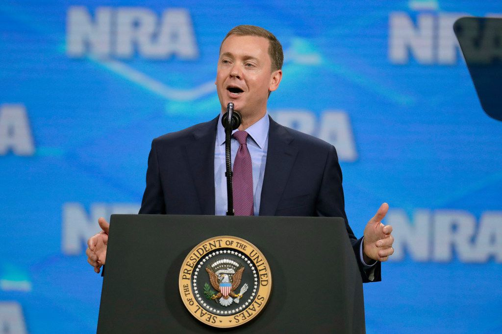 National Rifle Association Institute for Legislative Action Executive Director Chris Cox spoke at the NRA-ILA Leadership Forum at Lucas Oil Stadium in Indianapolis in April 2019.