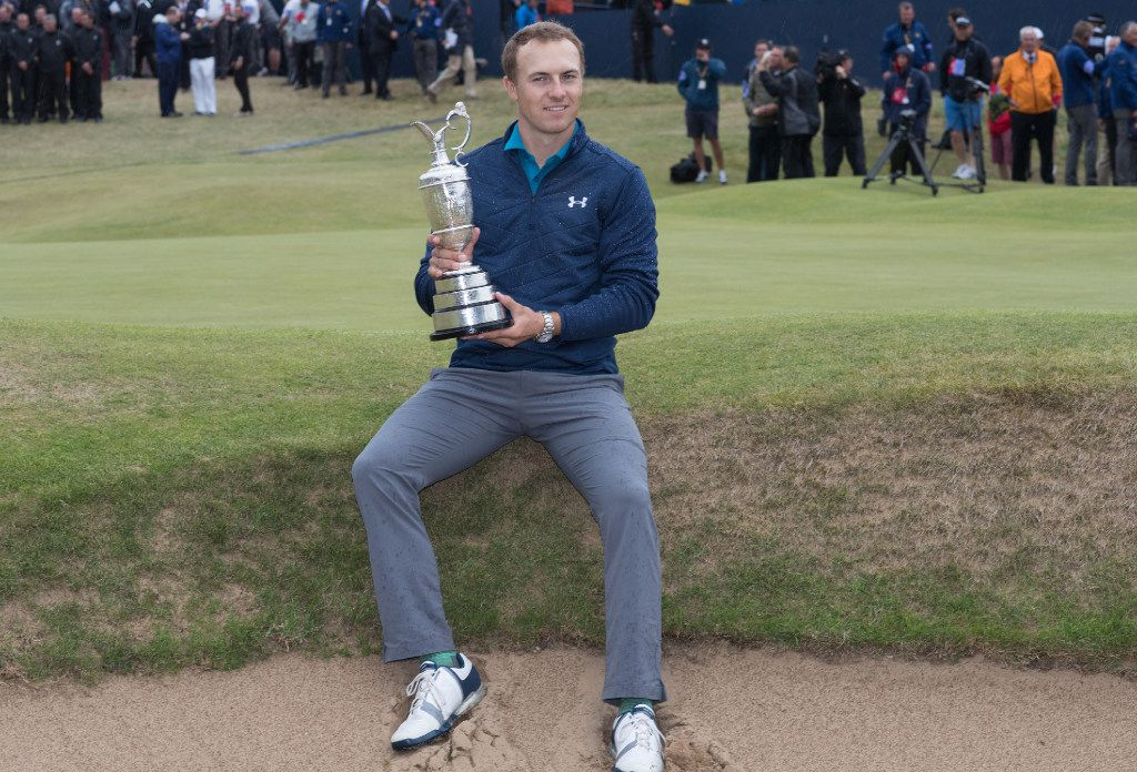 Jordan Spieth wins the Championship and receives the Claret Jug on Sunday, July 23, 2017 during the final day of the 146th Open Golf Championship at Royal Birkdale in Southport, United Kingdom. Spieth has won his third major with his victory at the British Open. (Rex Shutterstock/Zuma Press/TNS)