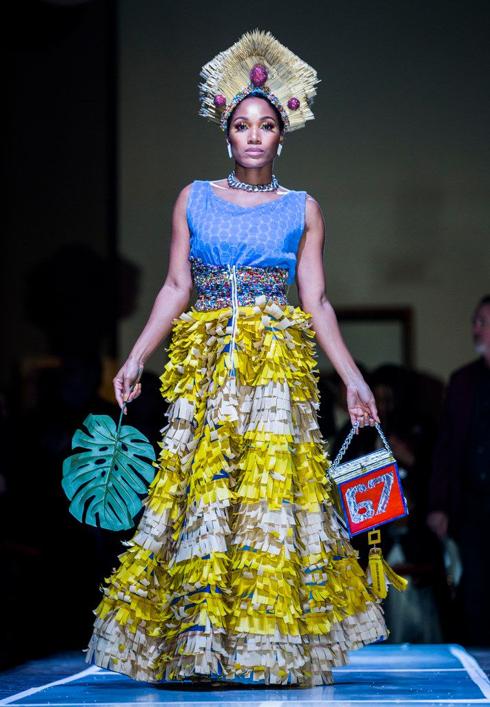 The skirt is made out of cut-up Golden Chick bags.