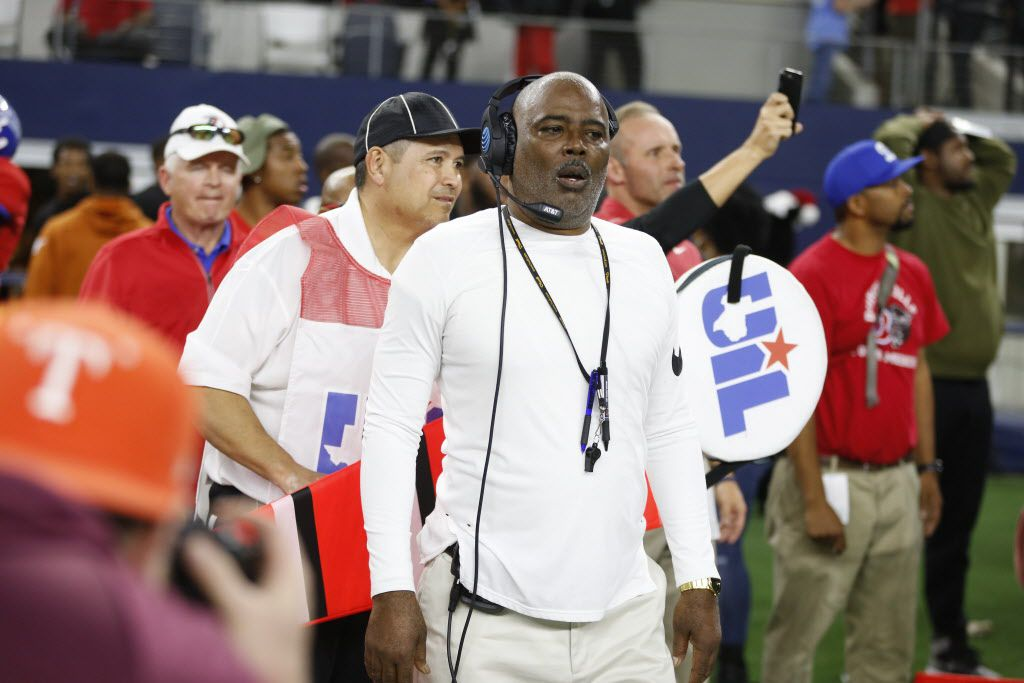 Duncanville's coach Reginald Samples reacts after losing against Galena Park North Shore in the Class 6A Division I football state championship game at AT&T Stadium in Arlington, Texas on Dec 22, 2018. Galena won 41-36.  (Nathan Hunsinger/The Dallas Morning News)