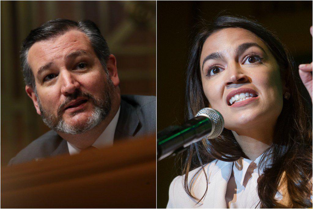 Sen. Ted Cruz (left) and Rep. Alexandria Ocasio-Cortez