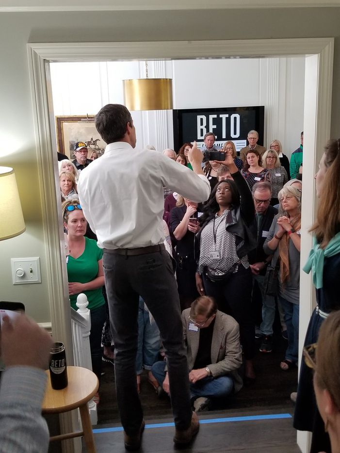 Beto O'Rourke stumps at a house party in Bedford, N.H., on May 11.