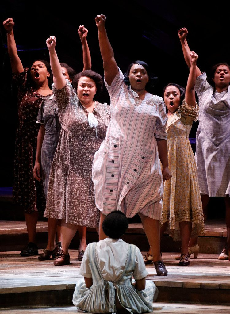 """Carrie Compere as Sofia, center, leads the song """"Hell No!"""" with fellow cast members in The Color Purple at Music Hall at Fair Park on Wednesday"""