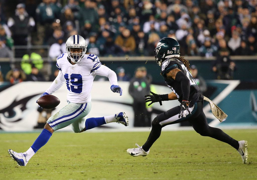 Dallas Cowboys wide receiver Amari Cooper (19) runs the ball against Philadelphia Eagles free safety Avonte Maddox (29) in the fourth quarter at Lincoln Financial Field in Philadelphia, Penn. on Sunday, Nov. 11, 2018. The Dallas Cowboys won 27-20. (Rose Baca/The Dallas Morning News)