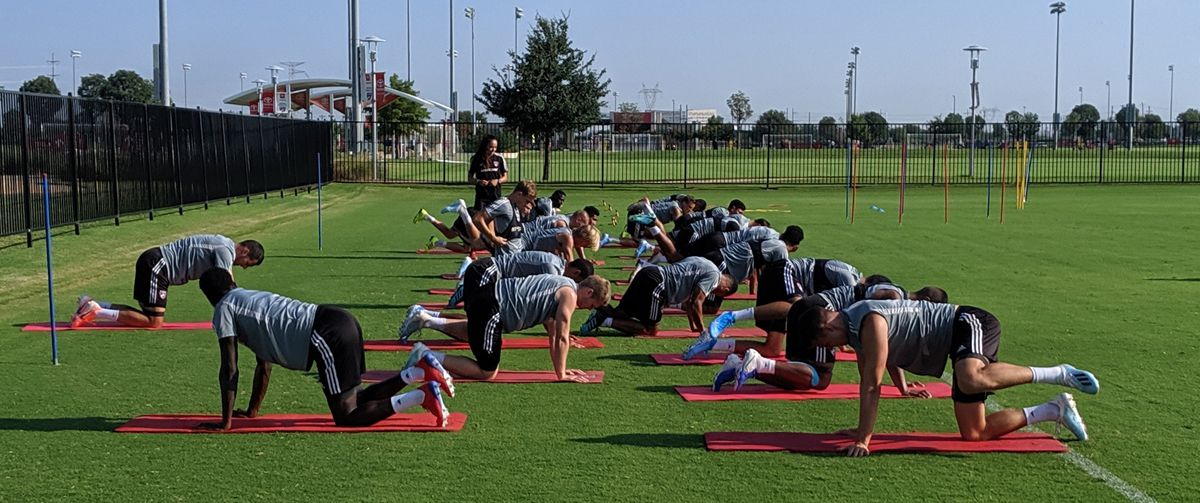 FC Dallas stretches at the start of training. (8-7-19)