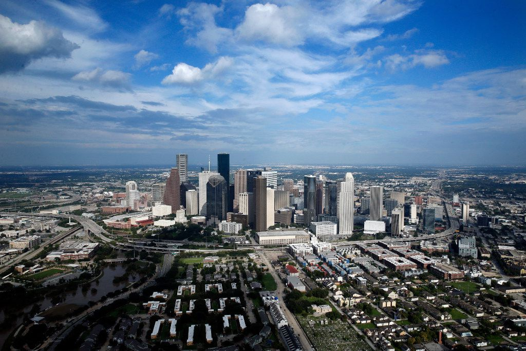 The west side of the downtown Houston skyline following Hurricane Harvey, Wednesday, August 30, 2017. (Tom Fox/The Dallas Morning News)
