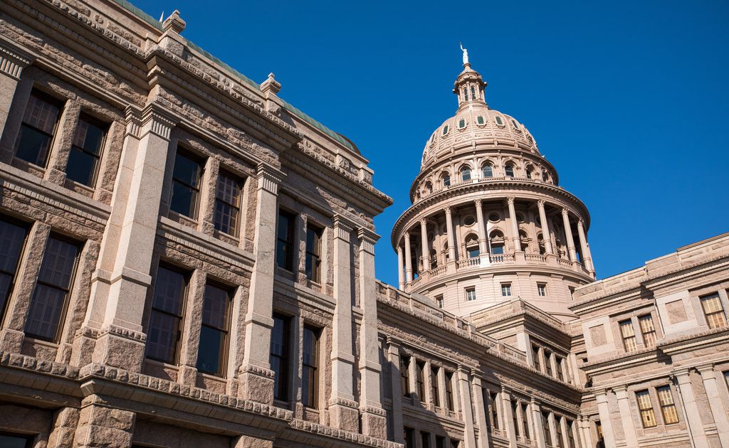 The Texas state capitol building in Austin, Texas on May 14, 2019.