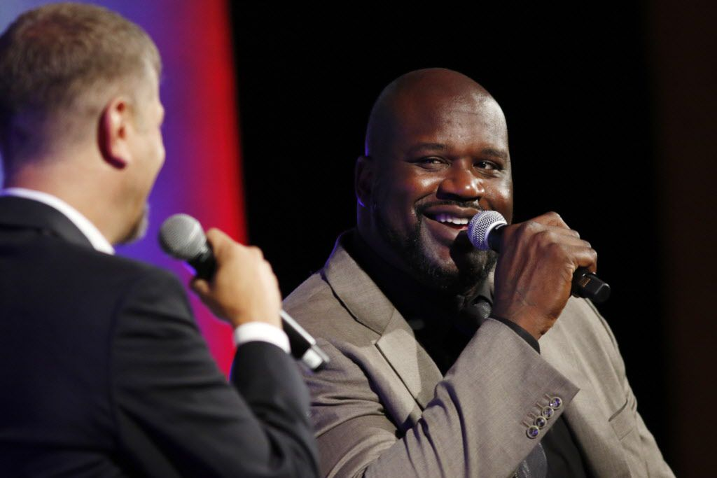 Shaquille O'Neal speaks in a Q&A with Jeff Wade at a Southern Methodist University Forum and Luncheon at the Hilton Anatole Hotel in Dallas on Wednesday, Oct., 21, 2015. (Rachel Woolf/The Dallas Morning News)