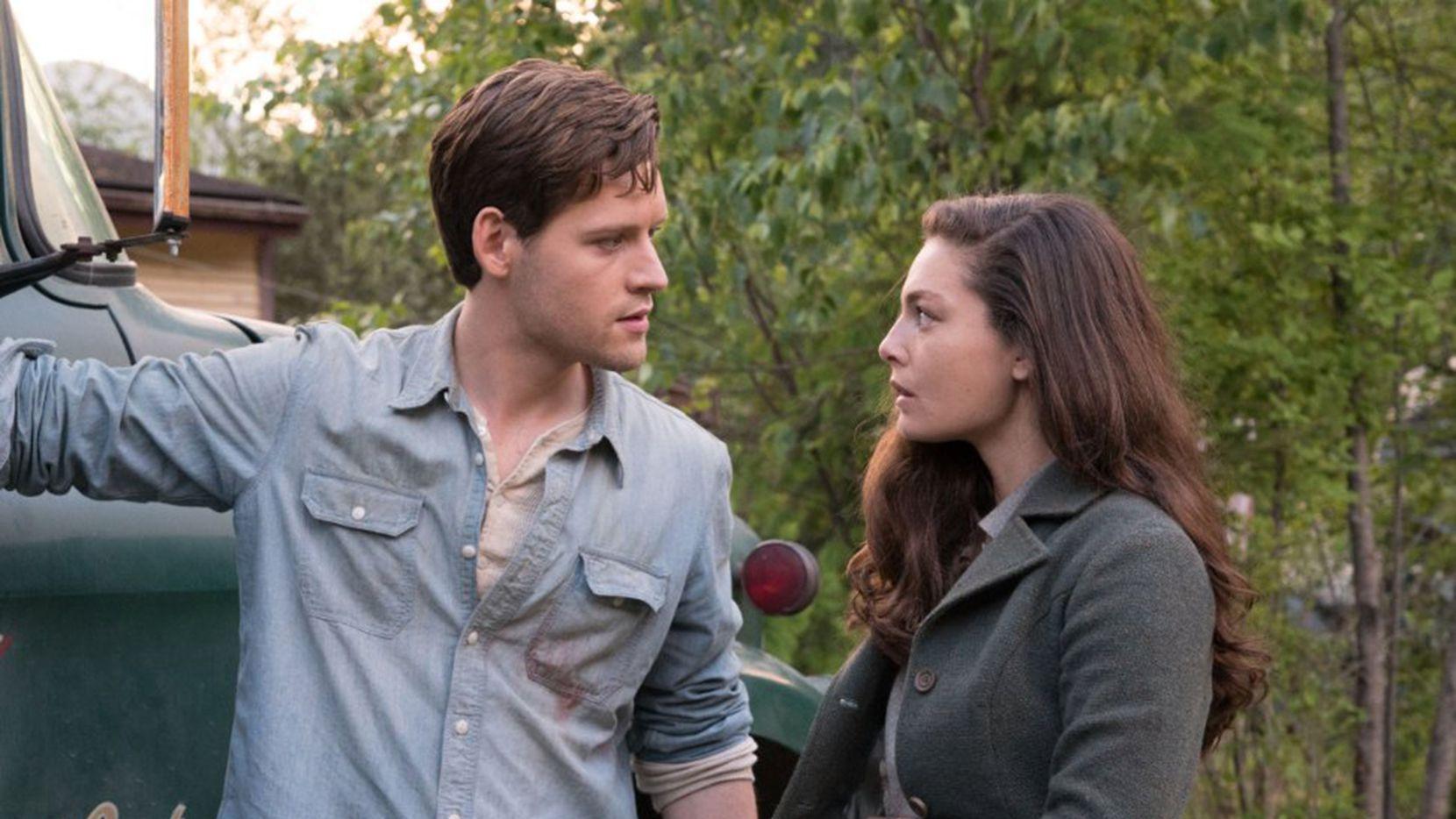 "Luke Kleintank and Alexa Davalos in ""The Man in the High Castle."""