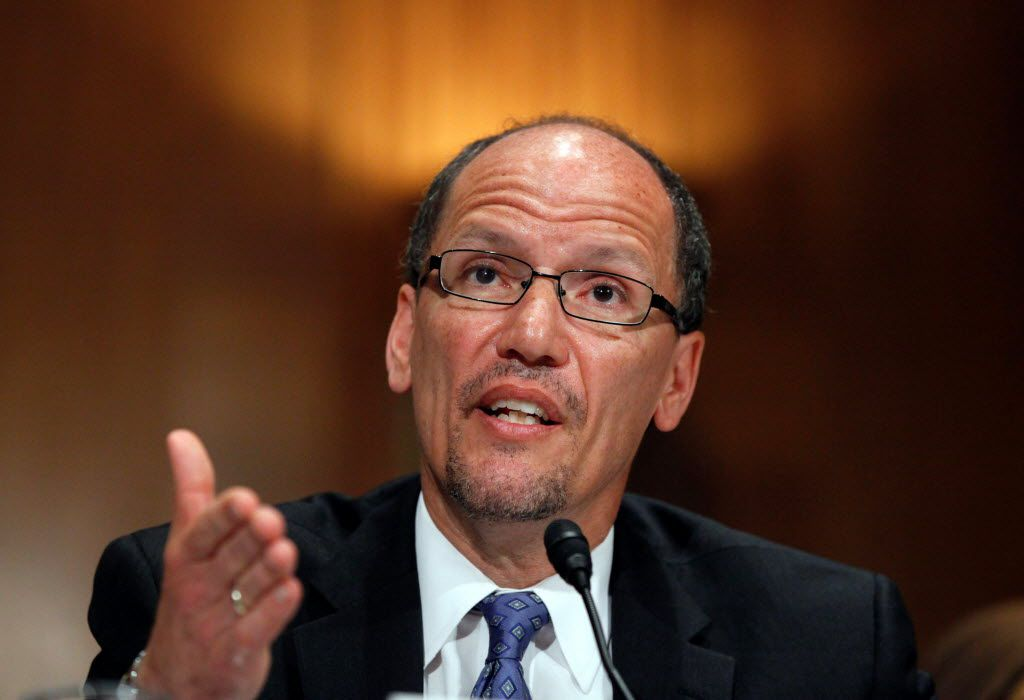 Labor Secretary Thomas Perez addresses members of Congress on Capitol Hill. (2013 File Photo/The Associated Press)