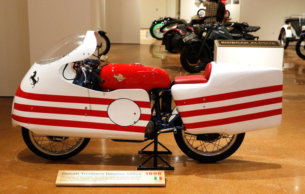 A 1958 Ducati Trialbero Desmo 125cc motorcycle on display at the Haas.