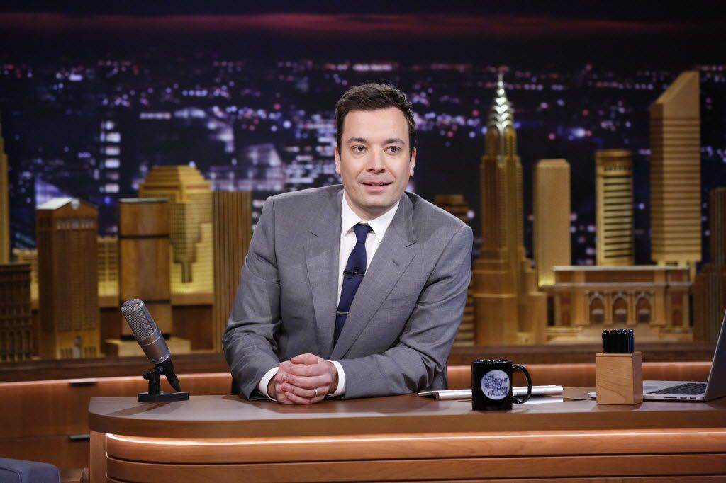 """In this photo provided by NBC, Jimmy Fallon appears during his """"The Tonight Show"""" debut on Monday, Feb. 17, 2014, in New York. Fallon departed from the network's """"Late Night"""" on Feb. 7, 2014, after five years as host, and is now the host of """"The Tonight Show,"""" replacing Jay Leno after 22 years. (AP Photo/NBC, Lloyd Bishop) 02192014xBRIEFING"""