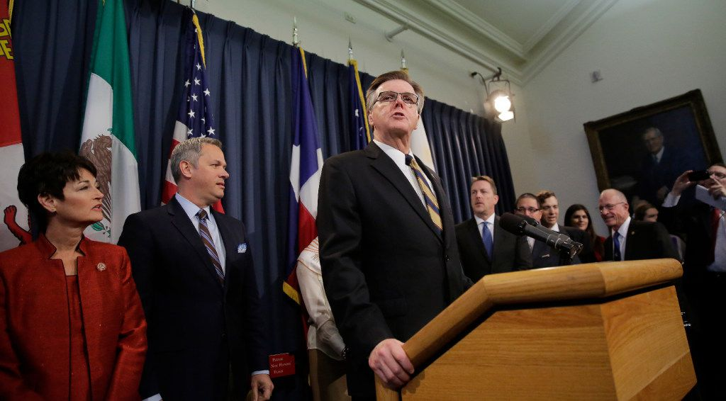 "Texas Lt. Gov. Dan Patrick, center, announces ""Operation One Million Voices"" to promote Senate Bill 6, the so-called bathroom bill, on March 6, 2017. The effort is being lead by Vision America and the Family Research Council, two groups with long histories of opposing LGBT rights."