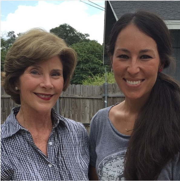 """Joanna Gaines (right) posted a photo with former first lady Laura Bush on Instagram. HGTV revealed Thursday that Laura Bush will be among the guests on the final season of """"Fixer Upper."""""""