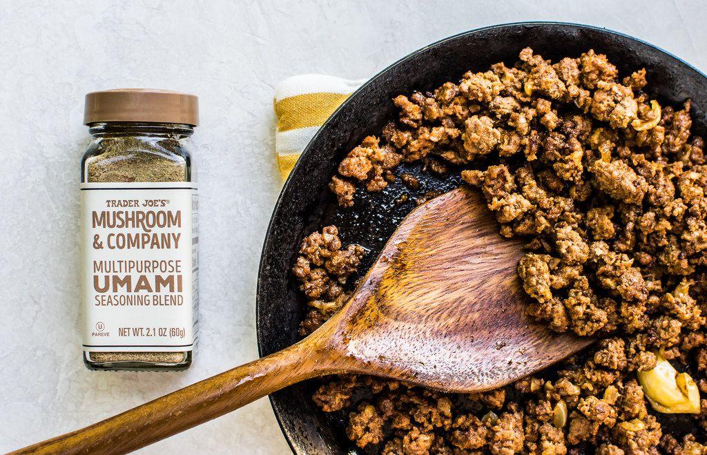 Umami Ground Beef uses mushroom umami seasoning from Trader Joe's.
