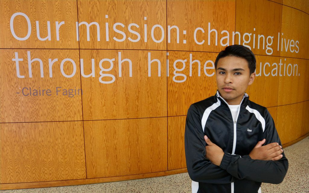 Jose Alvarez, a Grand Prairie graduate and current El Centro student, is pictured at the college in downtown Dallas on Thursday August 30, 2018.