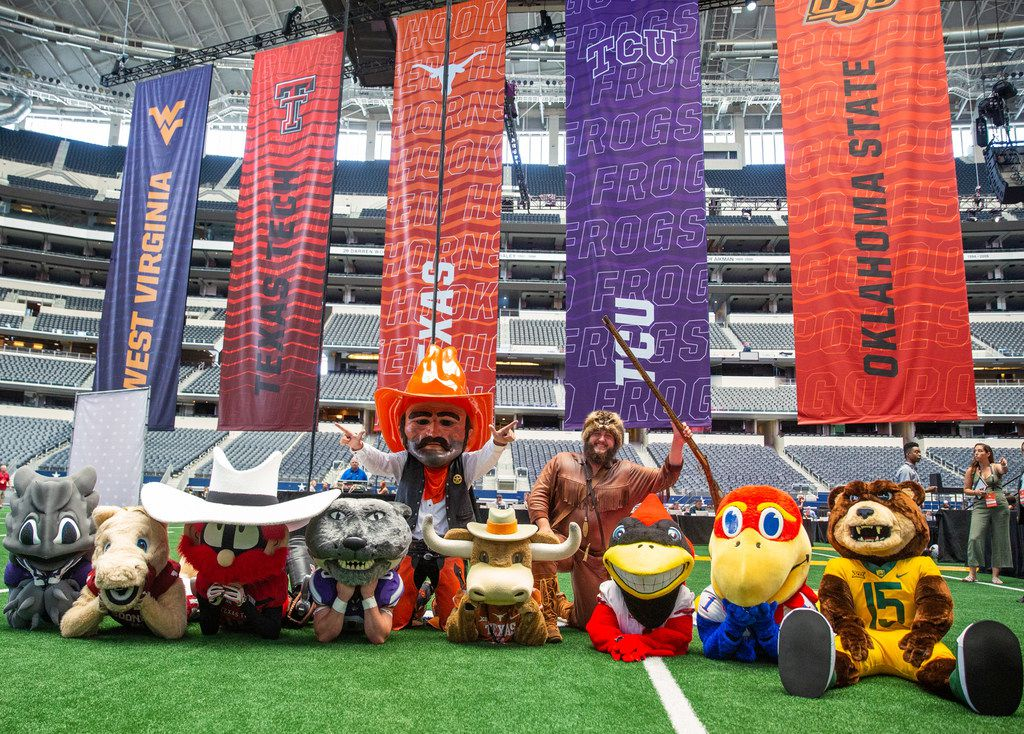 Big 12 university mascots pose for a group photo during the breakout session of the Big 12 Conference Media Days event at the AT&T Stadium in Arlington, Texas, Monday, July 15, 2019. (Lynda M. Gonzalez/The Dallas Morning News)