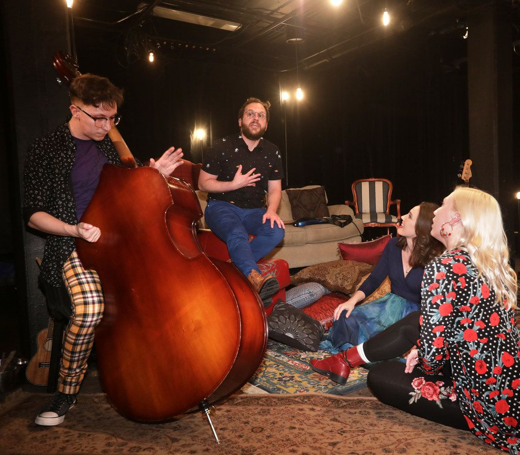 Benjamin Brown (left), Brandon Wilhelm, Mindy Bell and Devin Berg rehearse Ghost Quartet by Dave Malloy, composer of the Tony Award-winning musical Natasha, Pierre & the Great Comet of 1812. The production by Dallas' Imprint Theatreworks runs at the Bath House Cultural Center and is directed by Ashley H. White.