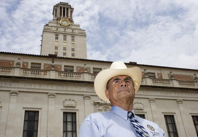 Former Austin Police Officer and Texas Ranger, Ray Martinez, (same as Ramiro Martinez) stands in front of the University of Texas Tower in Austin on Thursday, July 27, 2006. Martinez and another officer are credited with killing the UT Tower sniper, Charles Whitman, after his Aug. 1, 1966 shooting spree that killed more than a dozen people. Tuesday, Aug. 1, 2006 marks the 40th anniversary of the shootings.