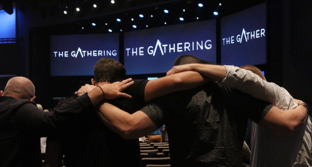 Solemn Assembly Called 'The Gathering' Seeks Nation's Return to God. A group pray for the United States on Wednesday, Sept. 21, 2016 during The Gathering at Gateway Church in Southlake, Tx. Christian leaders from across America came together for a day of pray and solemn assembly to call the nation to return to God.