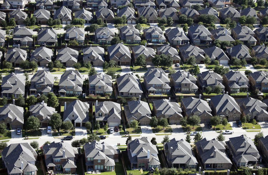 Aerial view of homes in McKinney near University Drive and Forest Ridge Lane.