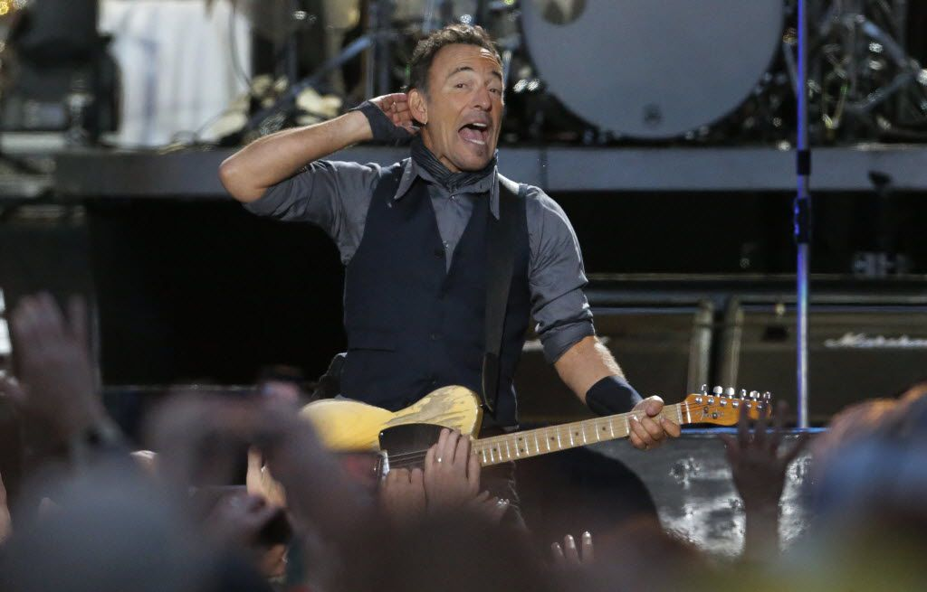 Bruce Springsteen performs during the March Madness Music Festival in Dallas on Sunday, April 6, 2014.  (Louis DeLuca/Dallas Morning News)