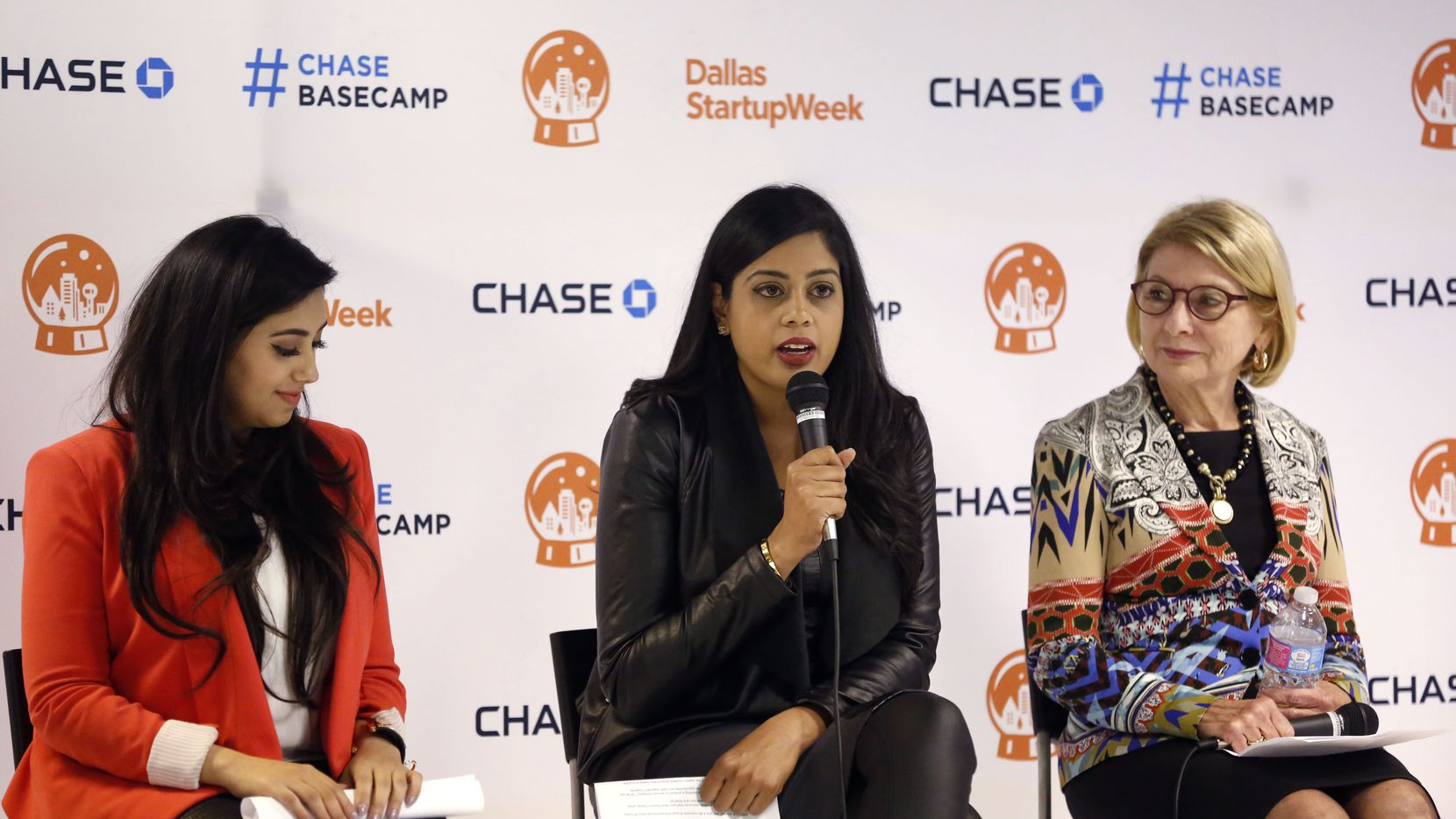 Shama Hyder (from left), Yasmeen Tadia and Valerie Freeman gave advice Wednesday night on how to be a successful Dallas entrepreneur. (Dallas Startup Week)