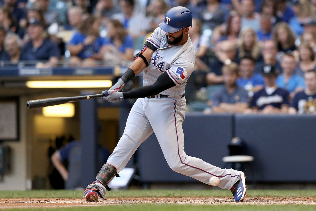 MILWAUKEE, WISCONSIN - AUGUST 10:  Nomar Mazara #30 of the Texas Rangers strikes out in the second inning against the Milwaukee Brewers at Miller Park on August 10, 2019 in Milwaukee, Wisconsin. (Photo by Dylan Buell/Getty Images)