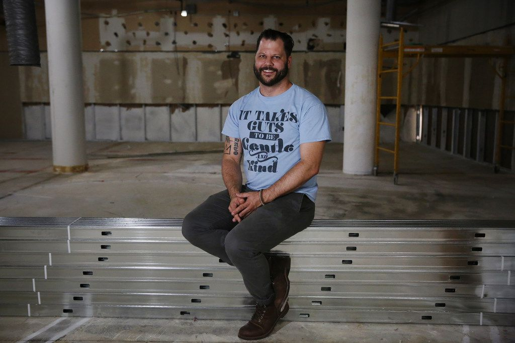 Chef Chad Houser, founder of Cafe Momentum, sits for a portrait after giving The Dallas Morning News a tour of the future space of a community services center in the tunnels underneath the area at Thanks-Giving Square in downtown Dallas on June 29.