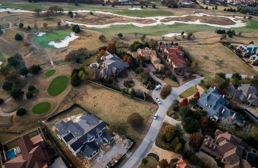 An aerial photo of the Vaquero neighborhood and surrounding golf course in Westlake, Texas.