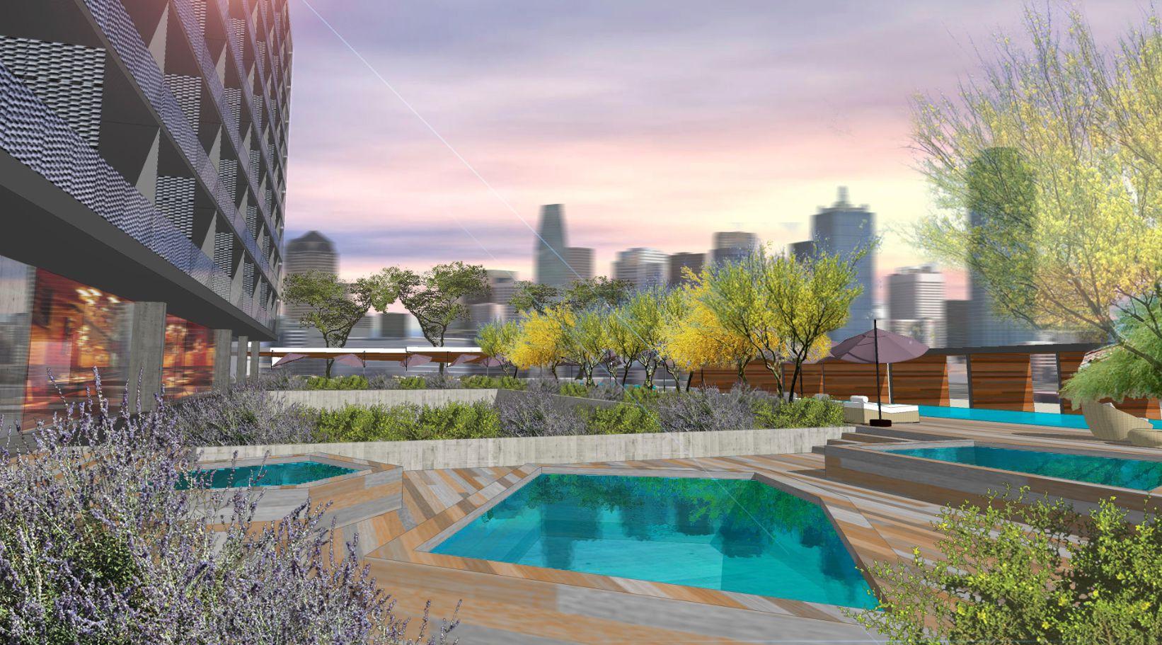 The pool deck on JMJ Development's Design District building overlooks downtown.