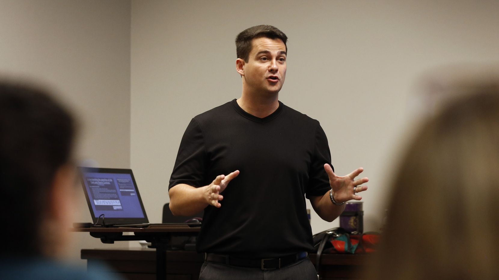 CEO Josh Harley talked to real estate agents during a Fathom Realty training session in Plano in August.