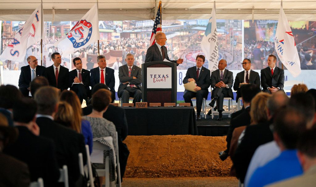 Texas Rangers broadcaster Tom Grieve emceed groundbreaking ceremonies for Texas Live! in Arlington. (Tom Fox/The Dallas Morning News)
