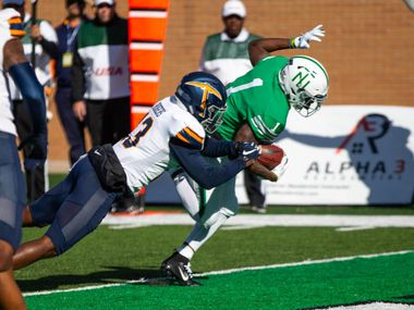 North Texas wide receiver Jaelon Darden (1) scores one of his three touchdowns last week in the Mean Green's win over the Miners at Apogee Stadium. UNT will face Louisiana Tech in Ruston on Saturday.
