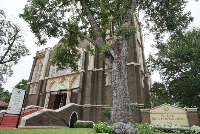 Oak Lawn United Methodist Church is located on the corner of Cedar Springs Road and Oak Lawn Avenue.