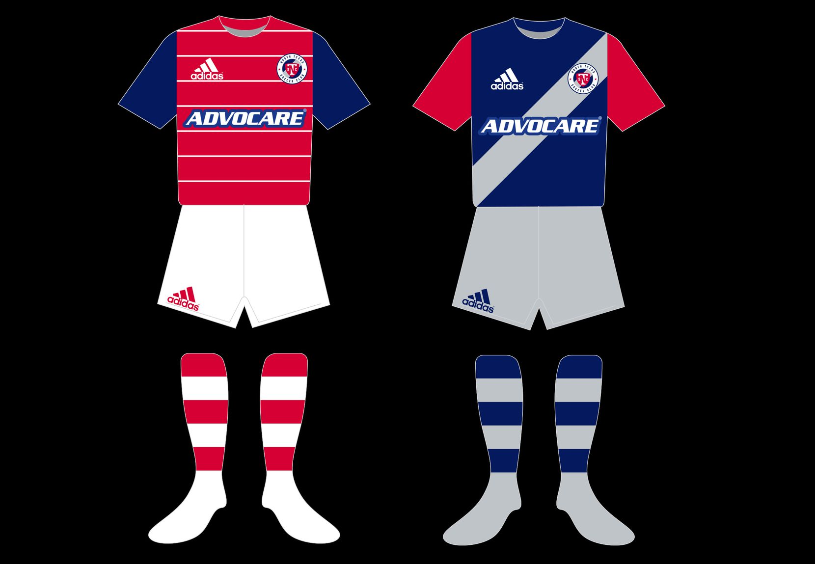 North Texas SC kit concepts by John Lenard, including a Burn throwback primary and a badge inspired sash secondary.