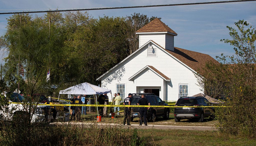 Law enforcement officials worked the scene of the mass shooting at First Baptist Church in Sutherland Springs on Sunday. (Nick Wagner/Austin American-Statesman)