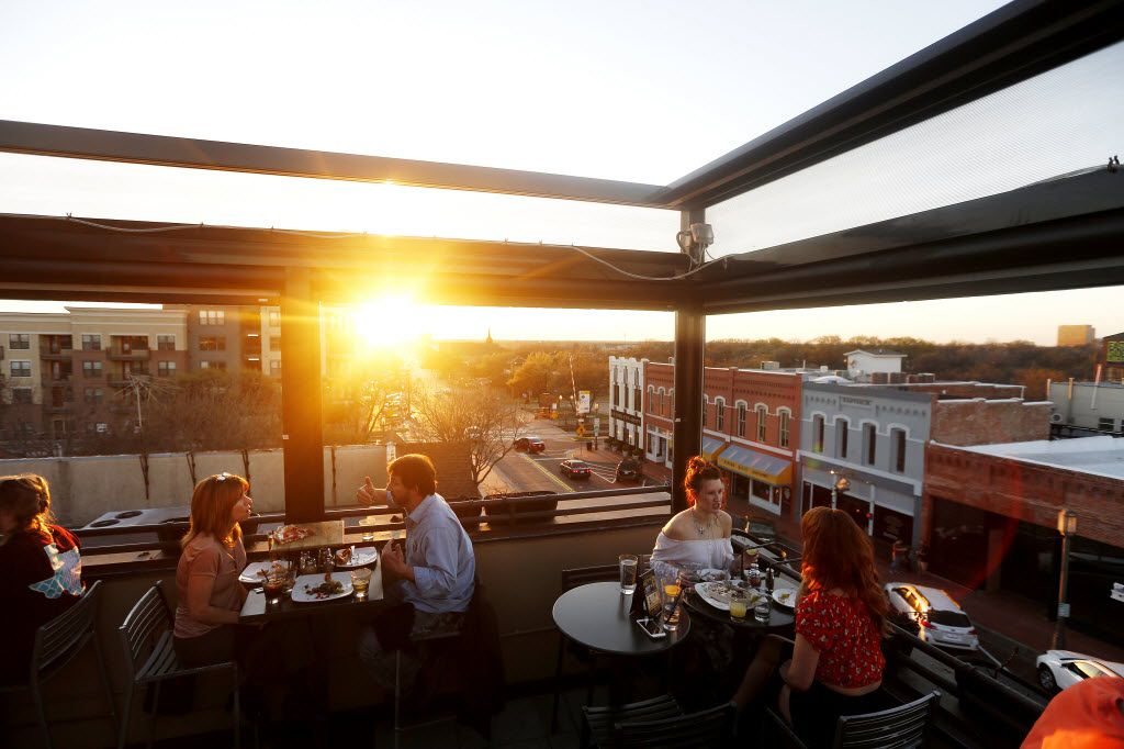It's hard to be stressed when you're eating good food on a rooftop, like at Urban Crust in downtown Plano.