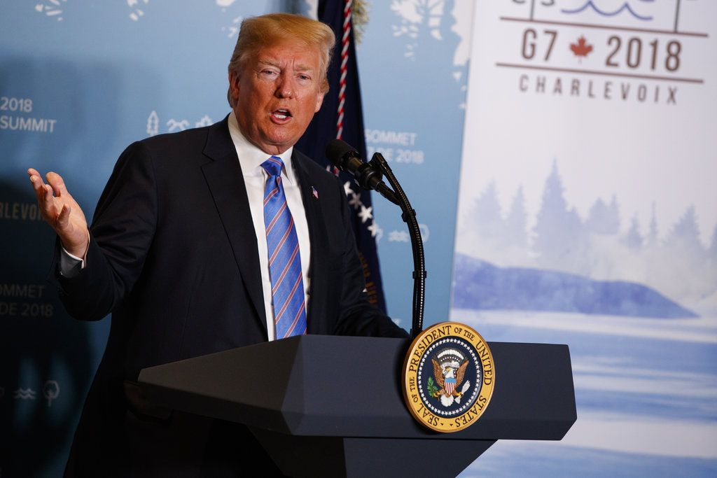 El presidente estadounidense Donald Trump en conferencia de prensa en La Malbaie, Quebec, Canadá el 9 de junio del 2018. . (AP Photo/Evan Vucci, File)
