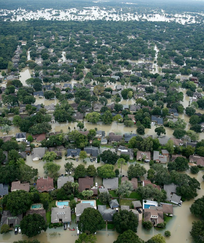 A flooded neighborhood near the Addicks Reservoir in West Houston, Texas, was inundated with water, Wednesday, August 30, 2017. Hurricane Harvey inundated the Houston area with several feet of rain. (Tom Fox/The Dallas Morning News)