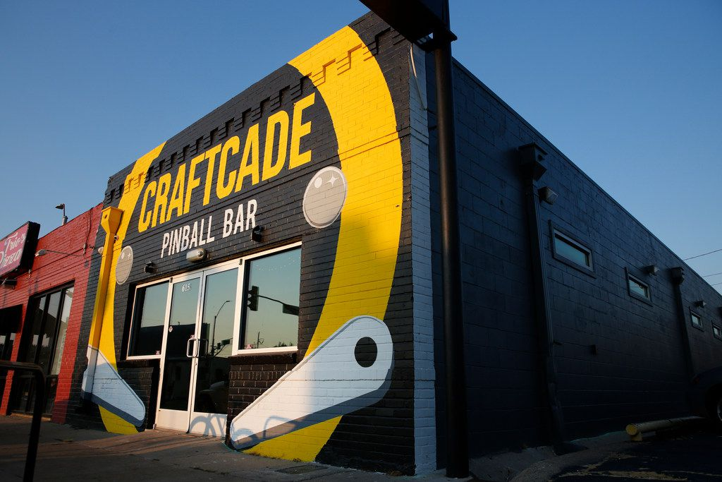 Exterior of Craftcade Pinball Bar in Fort Worth.