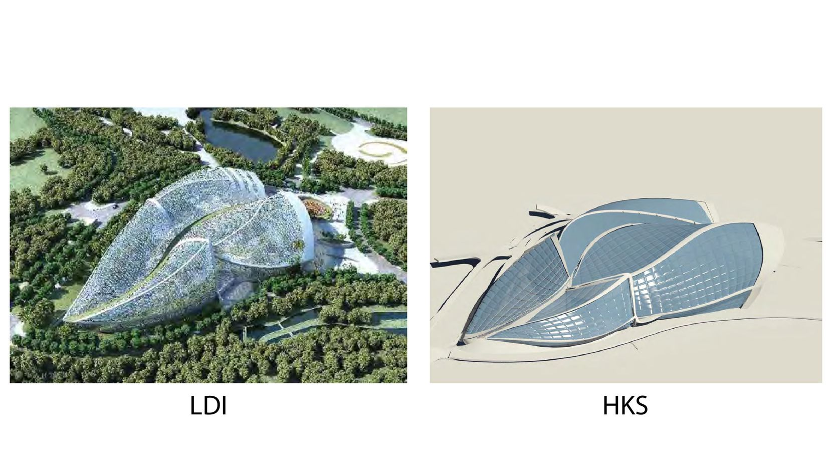 Dallas-based HKS won a design competition a few years ago for a high-profile horticulture expo in Qingdoa, China, only to have its plans ripped off without compensation, said Ralph Hawkins, the firm's chairman emeritus. A side-by-side rendering of HKS' design and the one ultimately done by a local design institute in China shows the similarities. (Courtesy of Ralph Hawkins/HKS)