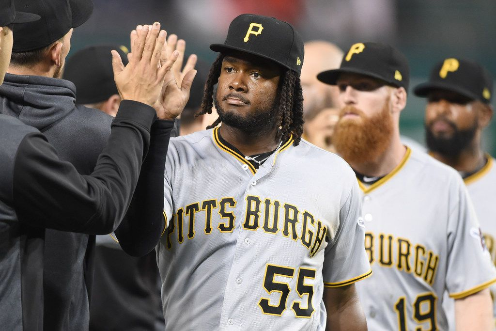 WASHINGTON, DC - APRIL 12:  Josh Bell #55 of the Pittsburgh Pirates celebrates a win after a baseball game against the Washington Nationals at Nationals Park on April 12, 2019 in Washington, DC.  (Photo by Mitchell Layton/Getty Images)