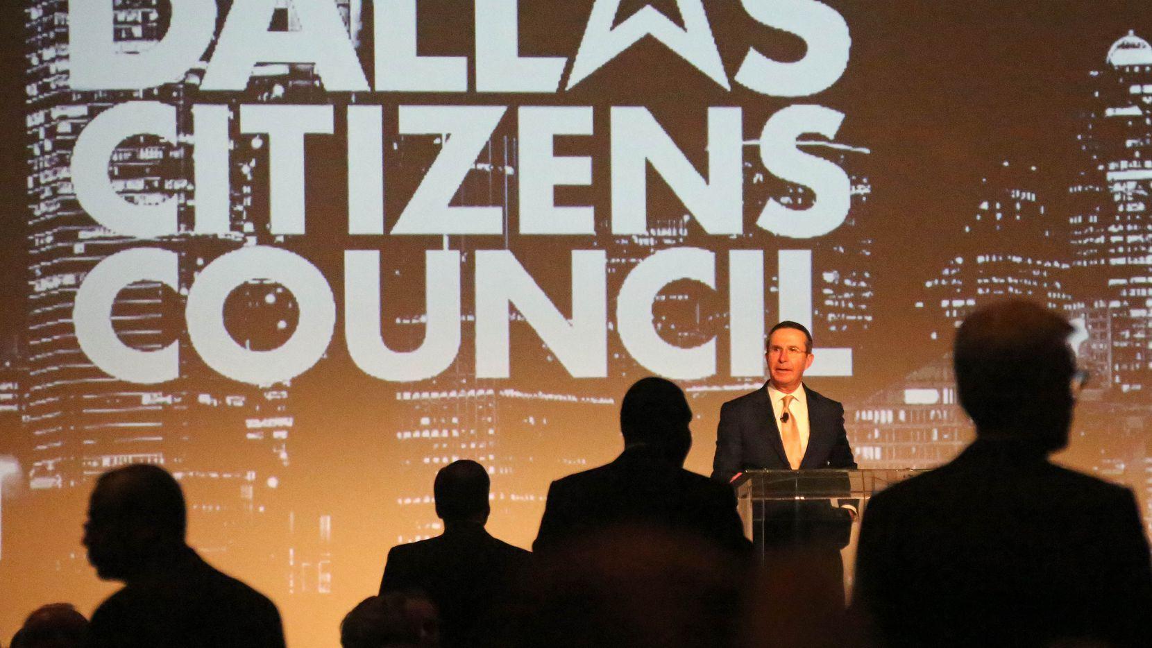 Chairman of the Dallas Citizens Council Clint McDonnough greets the crowd at the Dallas Citizens Council luncheon held at the Omni Dallas Hotel in Dallas on Nov. 30, 2016.